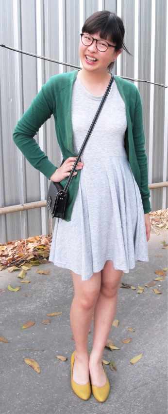 green-cardigan-grey-skater-dress-yellow-kitten-heels-1